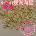 Wholesale 100PCS/Lot 3MM 3D Regular Starfish Shape Gold Silver Color Metallic Nail Art DIY Decorations 290253