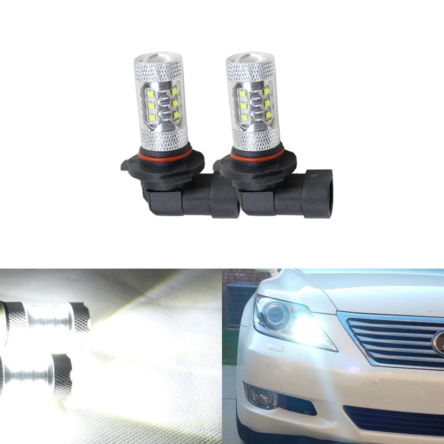 2PCs 9005 HB3 80W White Led High Beam Daytime Running Lights For Lexus IS GS ES LS RX 350 For Toyota Corolla Highlander Prius
