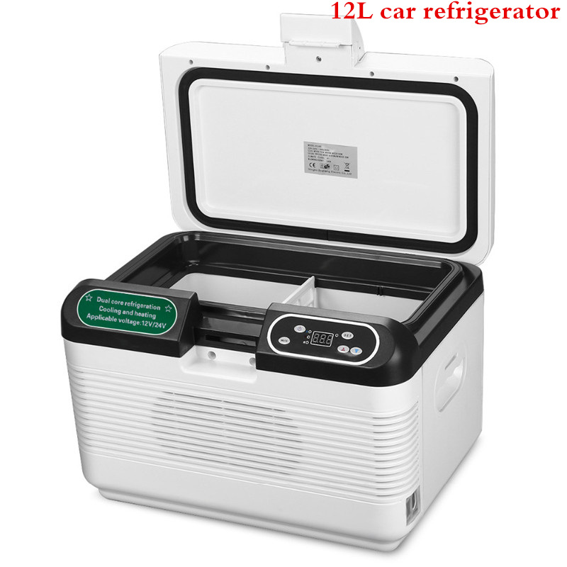 12L Portable DC 12V/24V Mute Design Dual-core Mini Auto Fridge Truck Home Freezer Travel Car Refrigerator Cooling to 5 Degree
