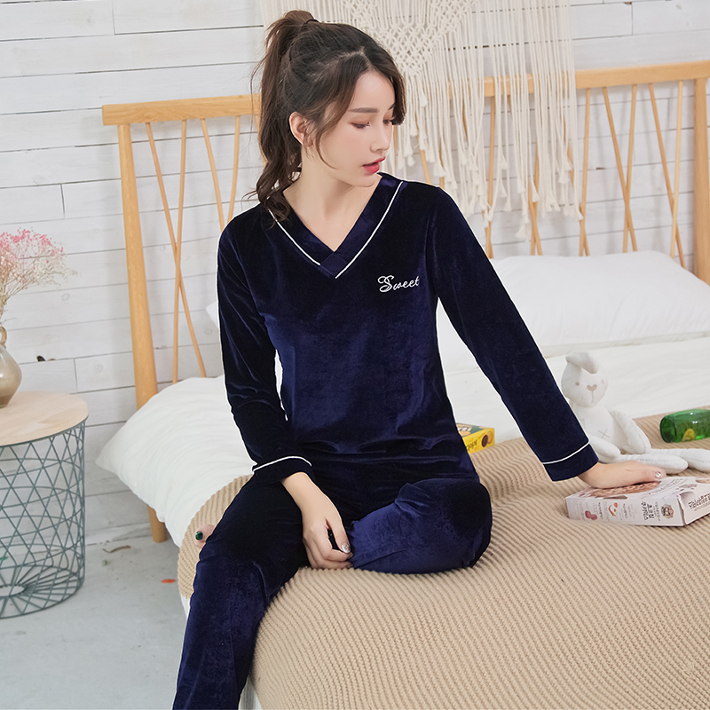 Girls Gold Velvet   Pajamas     Sets   for Women 2018 Autumn Winter Long Sleeve Soft Comfortable Pyjama Sleepwear Homewear Home Clothing