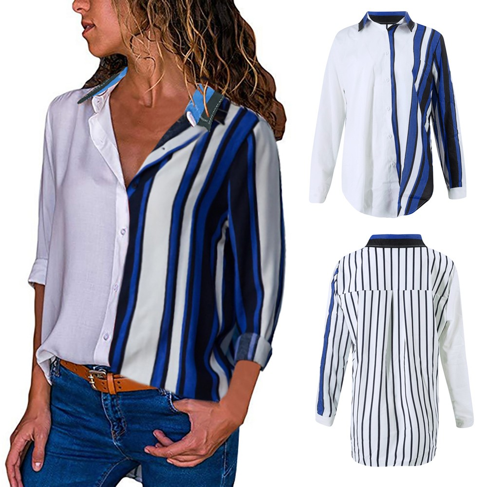 Tee Shirt Femme Womens Casual Long Sleeve Color Block Splice Stripe Button Durable Enought For Daily Wearing Tops Temperament