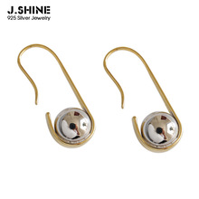 JShine Korean Fashion Earrings S925 Sterling Silver Ear Hook U-shaped Ball Drop Female Women Accessories