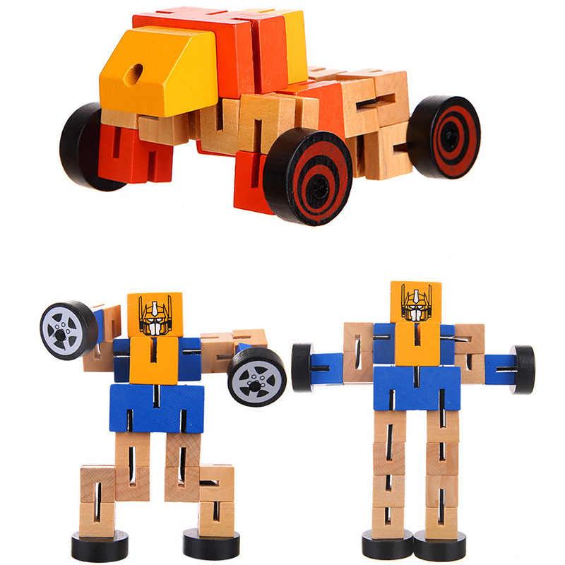 Деревянный Трансформация Робот здания Конструкторы дети Игрушечные лошадки для детей обучения Intelligence подарки WJ479