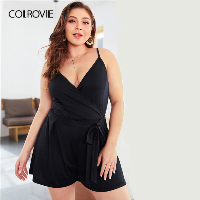 COLROVIE Plus Size Black Self Tie Solid Sleeveless Cami Romper Women Clothes 2019 Summer Casual Overalls Office Ladies Playsuit 3