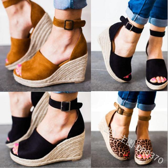 Woman Summer Wedge Sandals Hemp Loop Ladies Casual Shoes Platform High Heels Pumps Peep Toe Women Zapatos Mujer Sapato F180394 by Pefect By