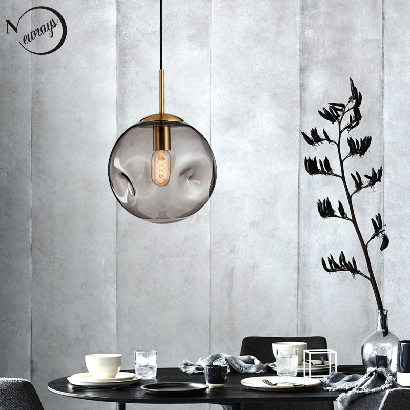 Nordic loft glass ball pendant light LED E27 modern creative hanging lamp for living room restaurant study bedroom lobby hotelNordic loft glass ball pendant light LED E27 modern creative hanging lamp for living room restaurant study bedroom lobby hotel