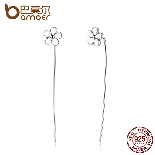 Sterling Silver White Flower 5.5 CM Long Drop Earrings