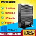 Broadwell Fanless Mini PC Intel Core i7 5500u Windows 10 i7 Mini-ITX Desktop Computer HD5500 HTPC TV Box HD 4K 16GB RAM 256G SSD