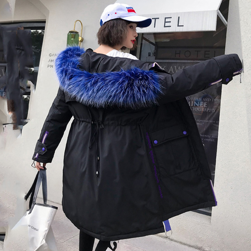 2019 New Arrival Women Winter Jacket With Fur Collar Hooded Warm Thicken Female Padded Coat Female Long   Parka   High Qualiity