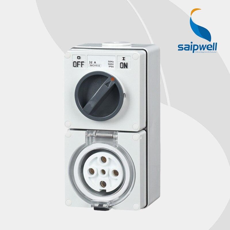 цена на Saipwell 2014 Hot Electrical Socket Plug IP66 Waterproof Female Industrial Socket High Quality 4P 20A 56CV420