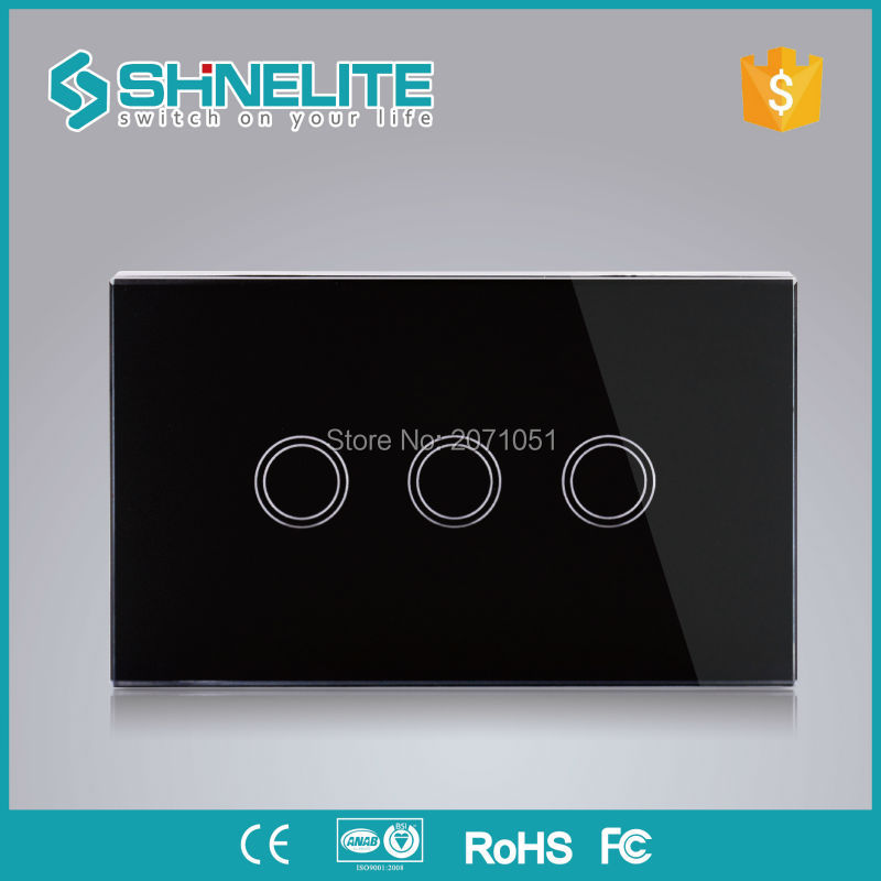 Manufacturer, SHINELITE Wall Switch, Black Crystal Glass Panel, 110~250V, 3-gang Touch Control Light Switch, US AU standard smart home us black 1 gang touch switch screen wireless remote control wall light touch switch control with crystal glass panel