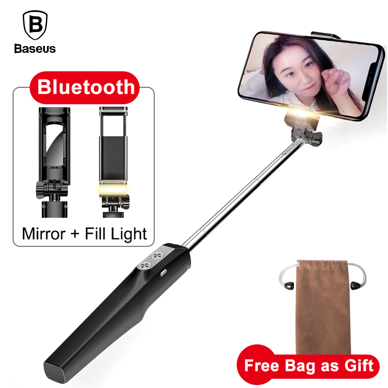 Baseus Selfie Stick Bluetooth Einbeinstativ mit Led-Blitz Füllen Licht Hinten Spiegel Selfiestick Für iPhone Samsung Xiaomi Android Handys