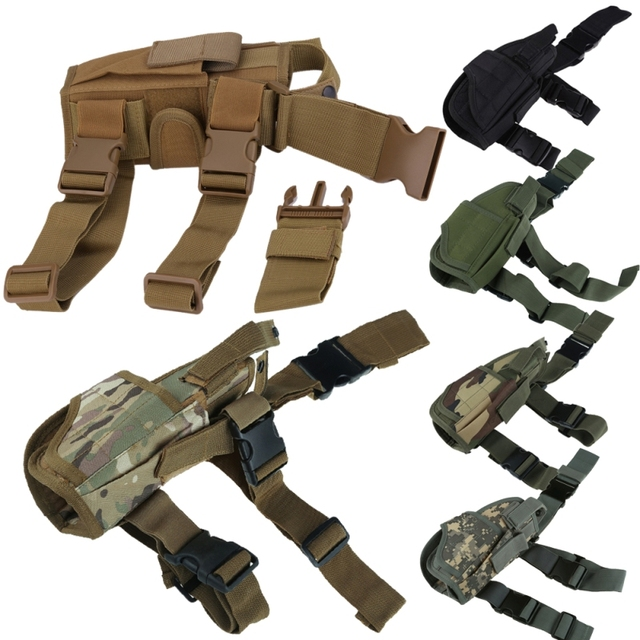 Adjustabl Tactical Pistol Drop Leg Thigh Holster w/ Mag Pouch Right Hand Outdoor Tactical Pouch with Adjustable Magic Strap 3