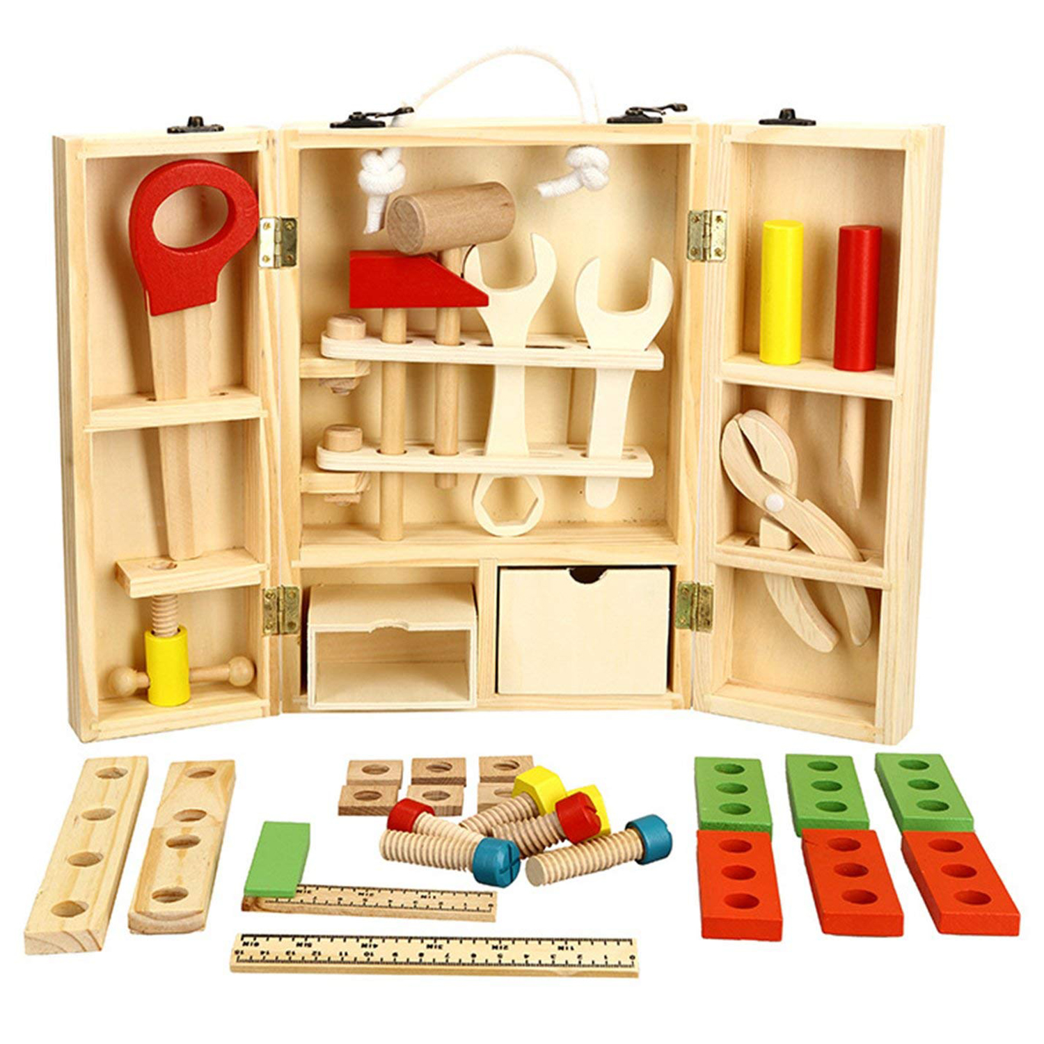 WOTT Wooden Tool Toys Pretend Play Tool Box Accessories Set Educational Construction Toys Kids