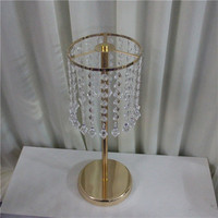 Crystal metal ornaments Home Wedding flower vase stand crystal wedding table centerpiece party event flower display decoration