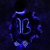 RE65 Party robot men suit RGB colorful led light costume stage armor dress luminous outfits perform clothe disco wears glasses