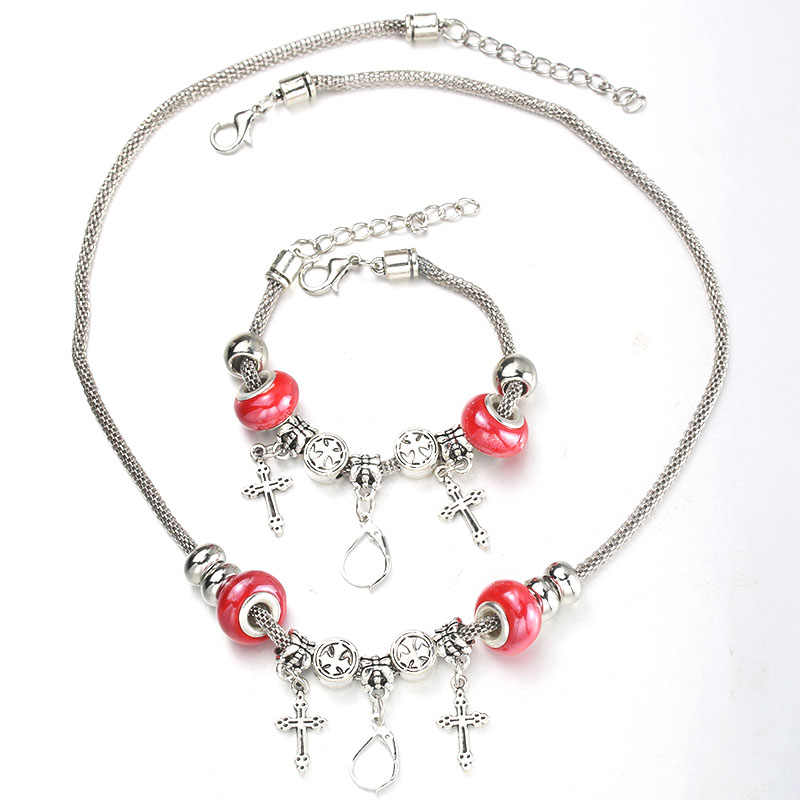 6 Colors Cross Necklace Bracelet Set Lobster Clasp Fine Red Bead Hollow Chain Beaded Bracelet With Hook DIY Pendant Jewelry