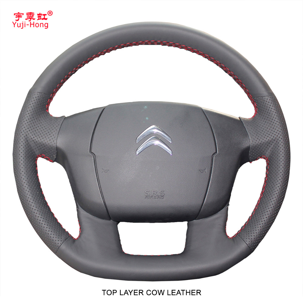 Yuji Hong Top Layer Genuine Cow Leather Car Steering Wheel Covers Case for Citroen C4L C4