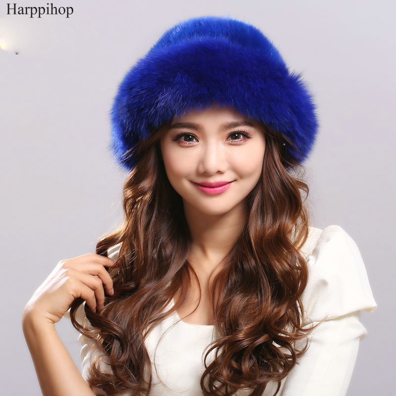 Autumn and winter women's real mink fur hat fox Russian sun hat Fashion warm natural fur mink and fox fur knitted Beanies foreign trade explosion models in europe and america in winter knit hat fashion warm mink mink hat lady ear cap dhy 36
