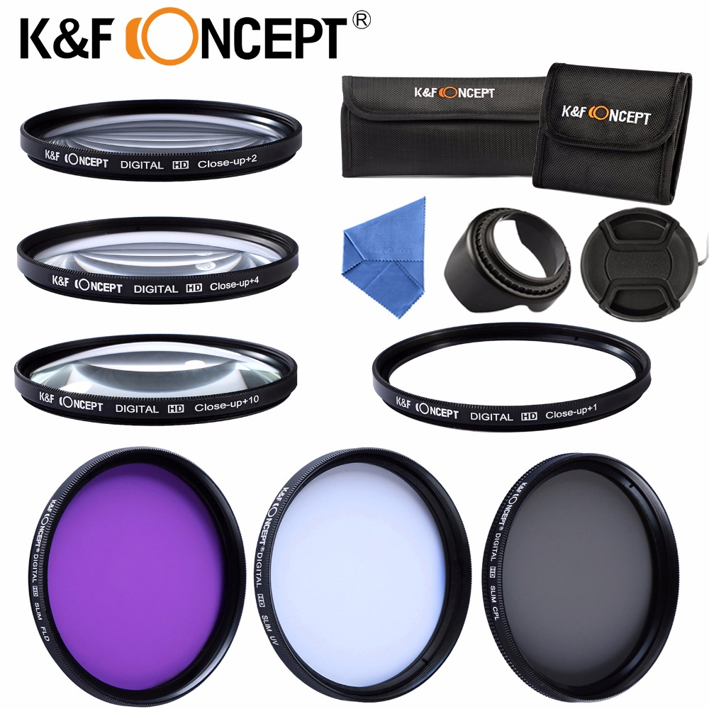 K&F CONCEPT 52/55/58/62/67/72/77mm UV CPL FLD Macro Close Up +1 +2 +4 +10 Lens Filter Kit +Cap +Lens Hood for Nikon D3100 D3200 светофильтр polaroid uv cpl fld 77mm набор фильтров pl3fil77