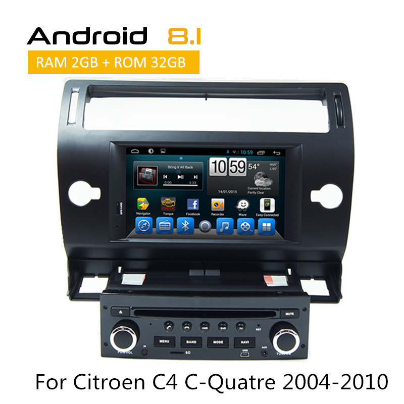 Double Din DVD Player For Citroen C4 C Quatre 2004 2010 With GPS/Glonass Navigation with Octa Core AUX BT WIFI TV 3G iPod OBD