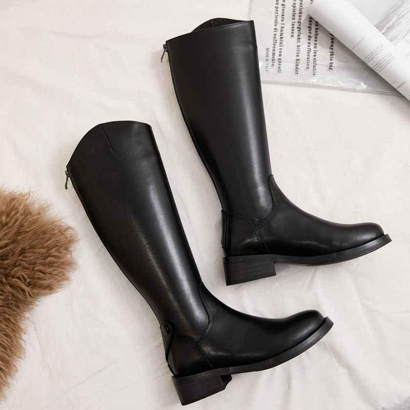 EGONERY בגובה הברך פרה עור רטרו גבוהה-למעלה גובה הגדלת מגפי סתיו חורף צבאי מגפיים מזדמנים נשים נעליים