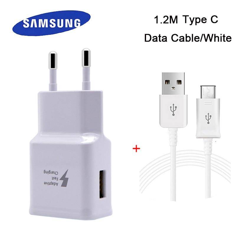 Samsung Type C USB rapide Adaptative chargeur UE Plug pour GalaxyS8 S8 + S9 S9 + Note8 Avec 1.5 M 2A Portable Type-C USB Câble de données