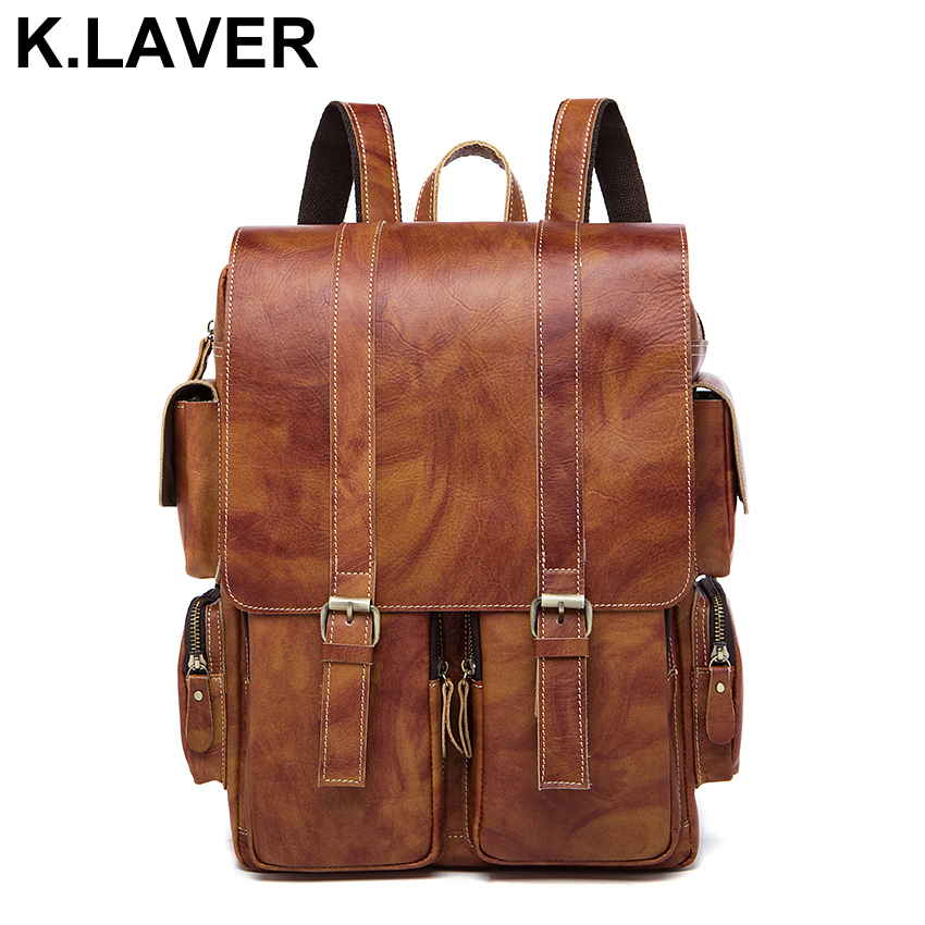 Men Vintage Backpack Crazy Horse Genuine Cowhide Leather Shoulder Bag Casual Daypacks Laptop Backpacks Travel School Male Bags brand bag backpack female genuine leather travel bag women shoulder daypacks hgih quality casual school bags for girl backpacks