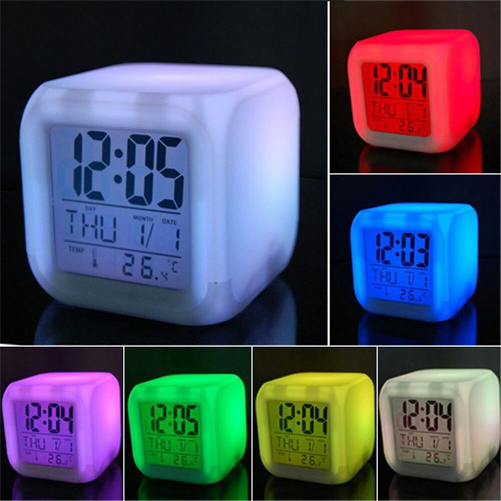LED Alarm Colock 7 Colors Changing Digital Desk Gadget Digital Alarm Thermometer Night Glowing Cube Led Clock Table Decor