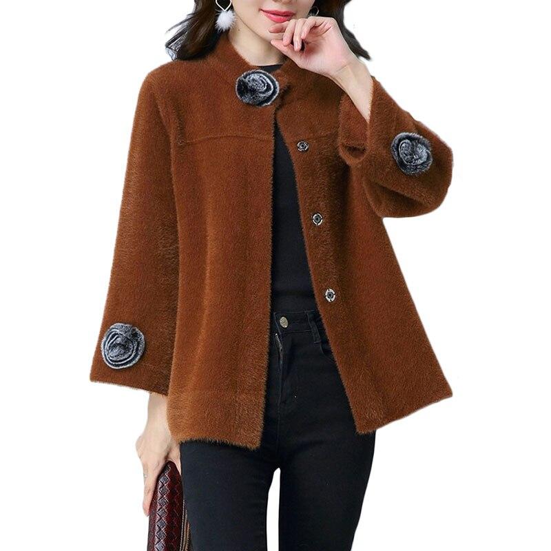 Spring New Cashmere Coat Women Upscale Plus size Long sleeve Cardigan Coats Women's Small shawl Short Sweater Jacket 4XL A347 inc new black women s size small illusion stripe shimmer cardigan sweater $69
