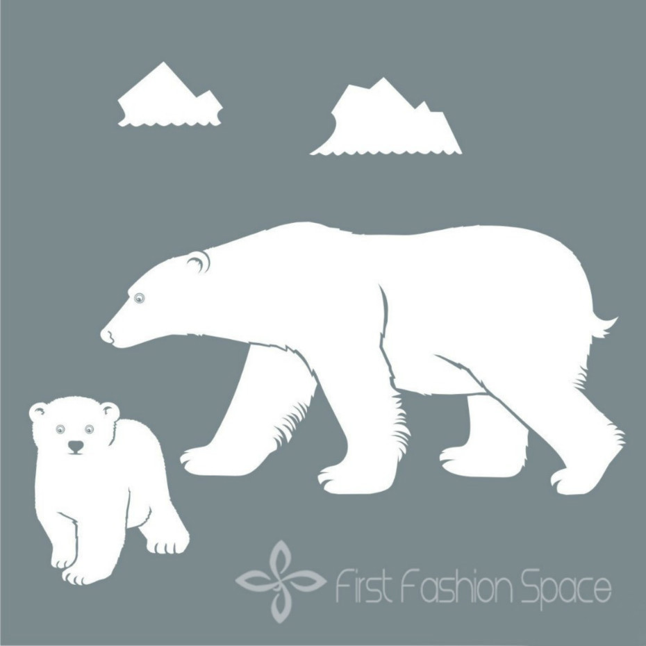 Polar Bear With Babies High Quality Home Window Wall Poster Vinyl Sticker Decal