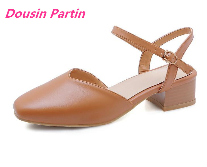 Dousin Partin Women Shoes Round Toe Pu Leather Casual Women Pumps Square Heel Buckle Two piece