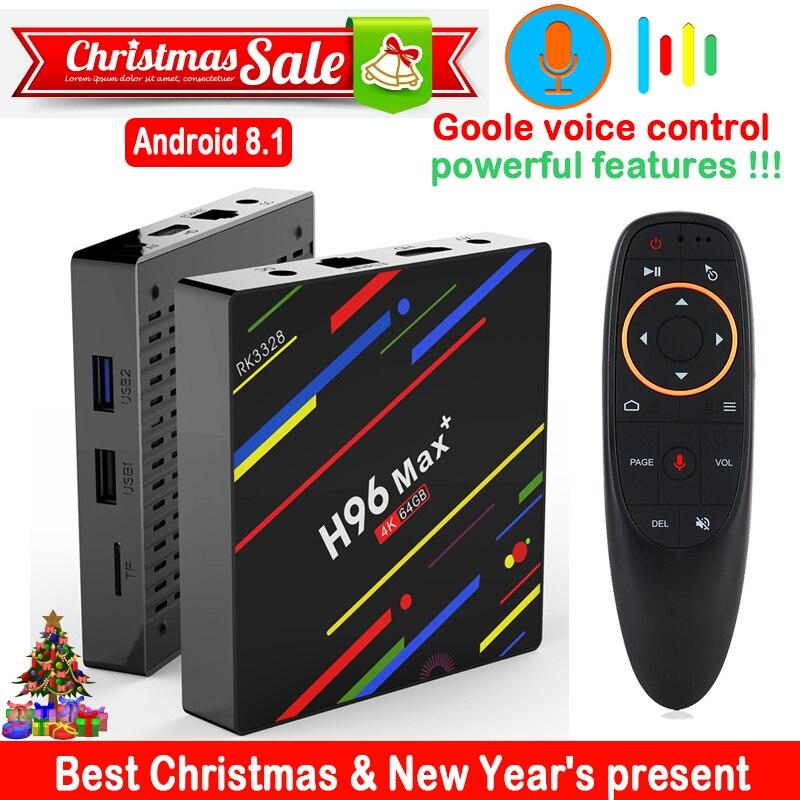 H96 MAX Plus caja de TV inteligente Android 8,1 RK3328 4G 64 GB control de voz USB 3,0 H.265 4 K google Netflix h96 max + set top box