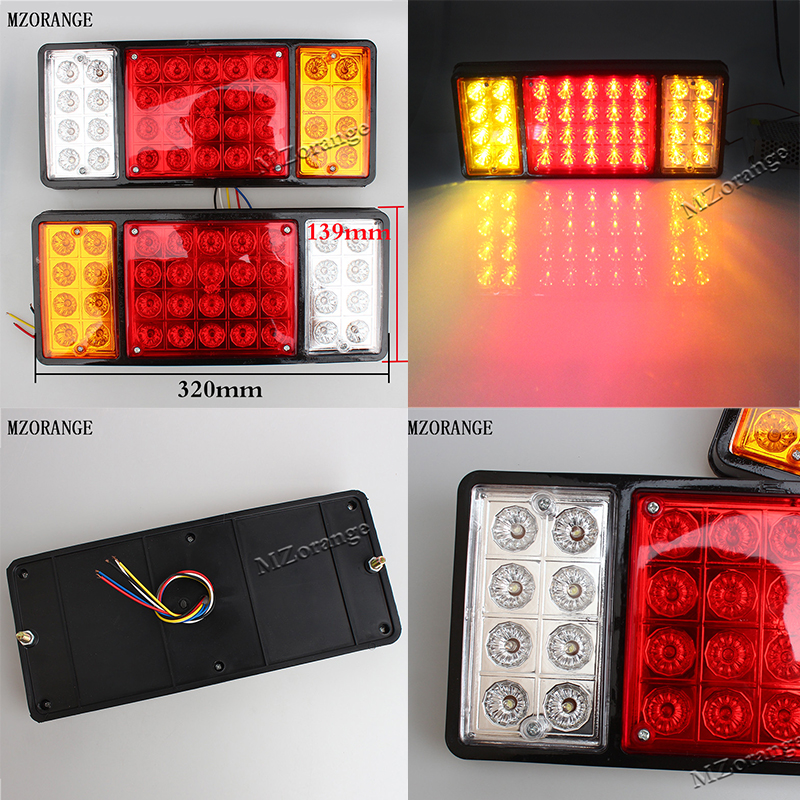 12V/24V 36 Tail Brake Light LED Tail Lights Rear Brake Lamp Stop Turn Indicator For Car Truck Trailers Van Reverse Indicator 12v 3 pins adjustable frequency led flasher relay motorcycle turn signal indicator motorbike fix blinker indicator p34