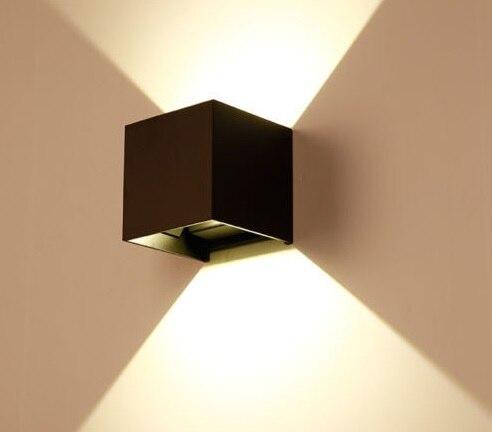 ФОТО 7W Modern LED Bulb Wall Light Up Down Cube Indoor Outdoor Sconce Lighting Spotlight Lamp