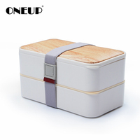 ONEUP Lunch box Boutique Wood grain bento box with tableware healthy eco friendly Insulation Portable Food storage container