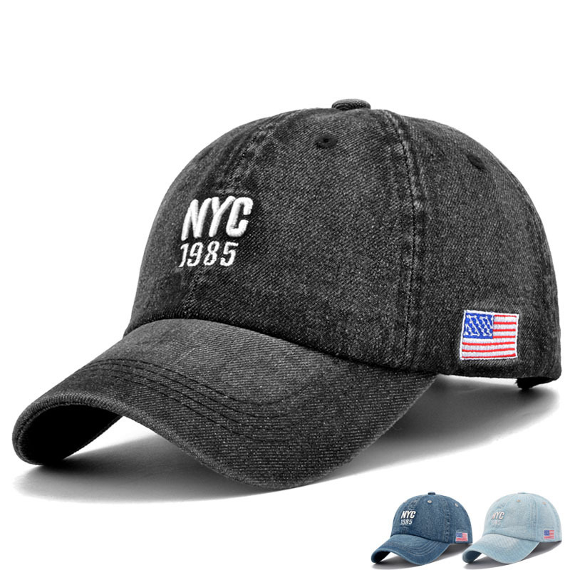 856c0908b01 Man Denim Wash old NYC Baseball Hat Male Travelling Sunshade Peaked Hats  Woman Pure Cotton Sun Caps-in Baseball Caps from Apparel Accessories on ...