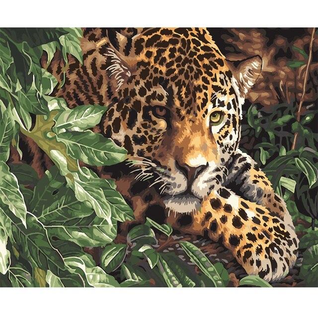 Diy Minyak Lukisan Dengan Angka Leopard Dinding Ruang Tamu Gambar