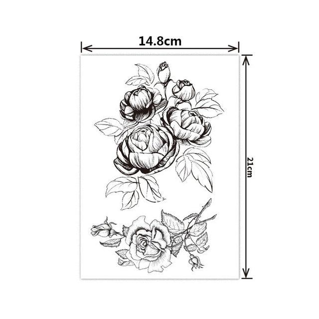 Fashion Black White Flower Tattoo Sticker Women Body Art Peony Rose Waterproof Water Transfer Temporary Tattoo 3