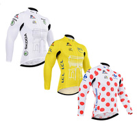 Classic Tour De France Pro Team Yellow White New Long Sleeve Man Cycling Jersey Winter Fleece