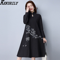 KEKURILY Women Vintage Dress Floral Embroidery Chinese Style Shirt Dresses Female Loose Black Red Full Sleeve