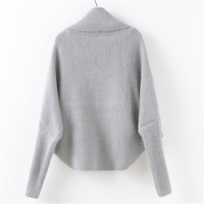 OLGITUM 2018 fashion lapel solid color irregular sweater women loose bat sleeve horse sea hair cardigan SW566