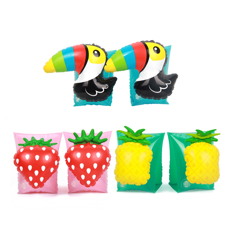 Swimming Arm Ring Pink Inflatable Strawberry Beach Toy Kids Flotation Arm Swimming Sleeve Children Wear Floats Water Games Rings