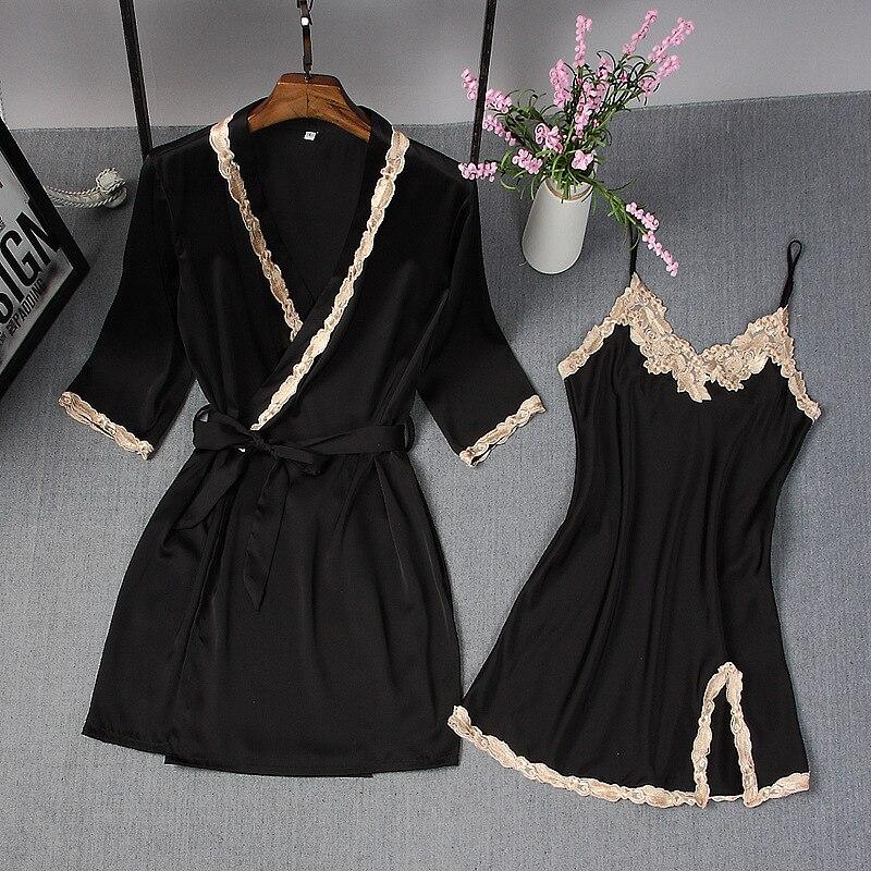 ربيع صيف جديد المرأة رداء دعوى العروس الزفاف 2 قطعة ثوب كيمونو Bathrobe مثير أنيق ثوب النوم سيدة فستان النوم اليومي غير رسمي