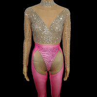 Female Rhinestone Jumpsuit Silver Pink Crystals Leotard Bodysuit Sexy Women Singer Stage Costume Bar Party Celebration Outfit