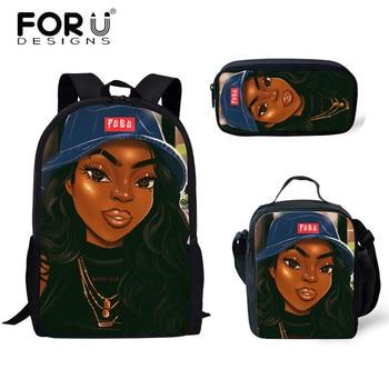 FORUDESIGNS Girls School Bags African Black Girls Hairstyle School Backpack Set Scool Bag For Girl Kids Girl Backpack Junior Bag 21
