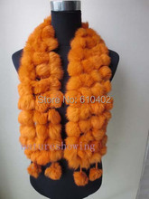 free shipping real rabbite fur handmade scarf cape/108 the ball/ orange