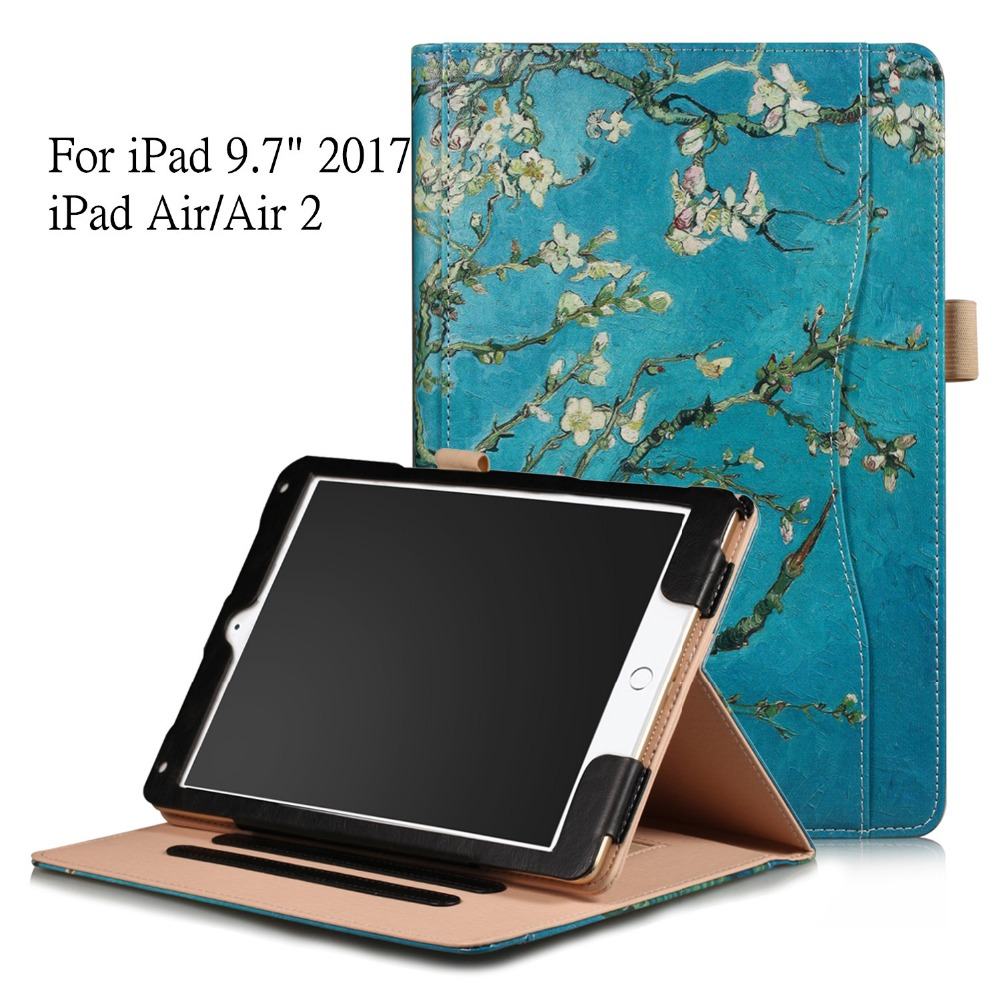 Luxury PU Leather Case for iPad 9.7 2017 Cute Flip Stand Cover Protective Shell Cover for iPad Air/Air 2 with Hand Strap Holder nice soft silicone back magnetic smart pu leather case for apple 2017 ipad air 1 cover new slim thin flip tpu protective case