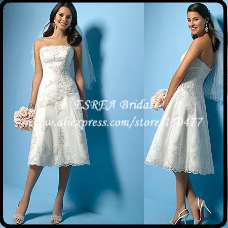 Semi Formal Appliques Strapless Short Lace Wedding Dress Tea Length ...