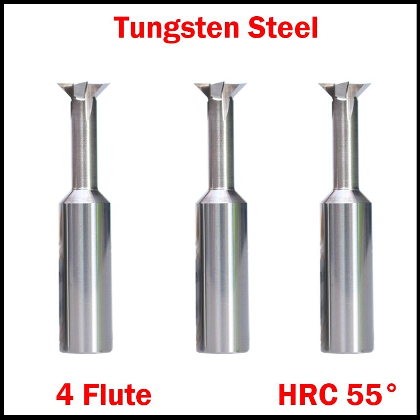 8mm X 75° Degree 4 Flutes Tungsten Steel Dovetail Cutter End Mill Bit Router